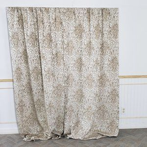 Vtg Curtain Panels Tan Damask Floral 76x83